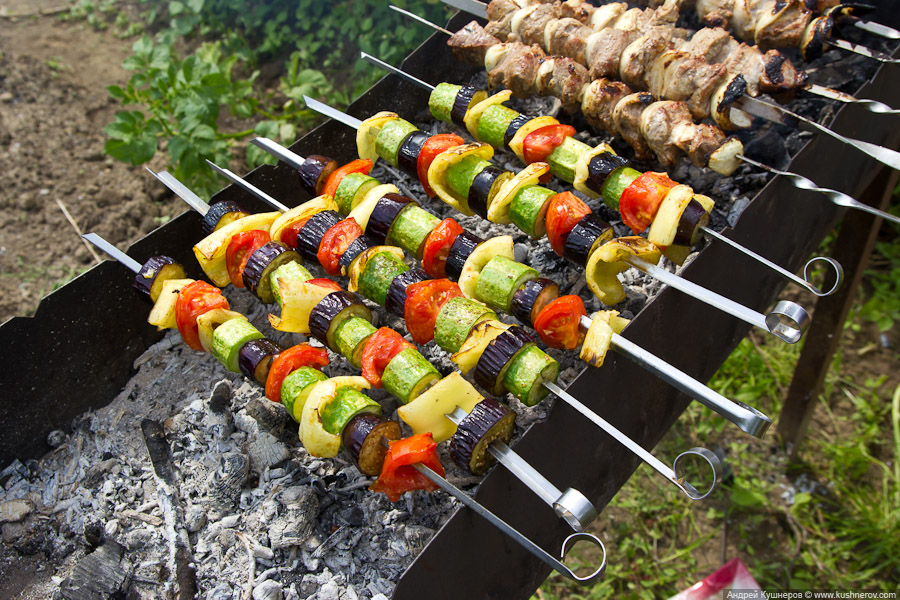 Как приготовить овощи на шампурах
