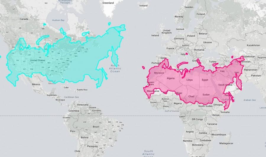 Россия по сравнению с Африкой и США