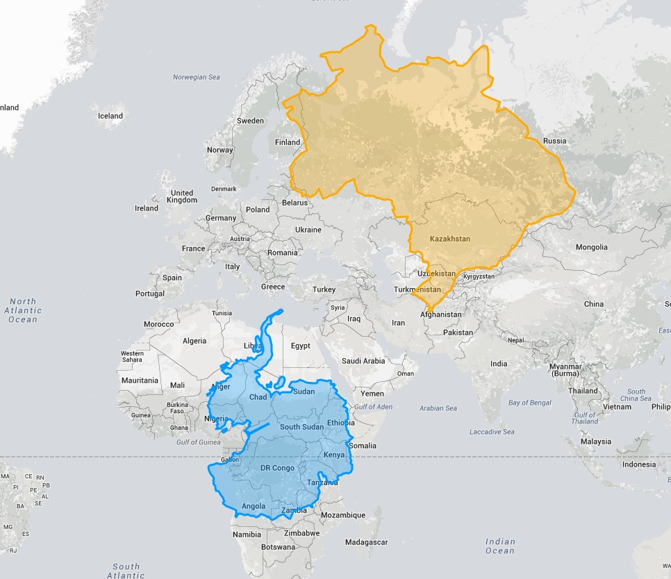 Антарктида и Бразилия по сравнению с Африкой и Европой