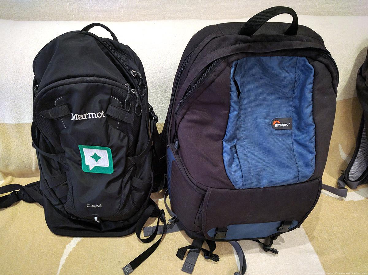 Рюкзаки Marmot Cam и Lowepro Fastpack250