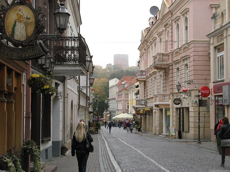 Вильнюс. Старый город. Вдали виднеется башня Гедиминаса.