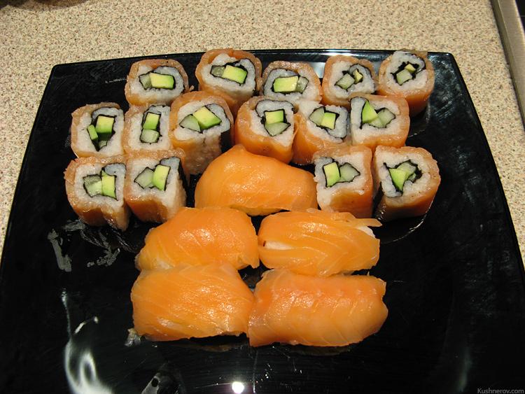 Суши, с рыбой наружу