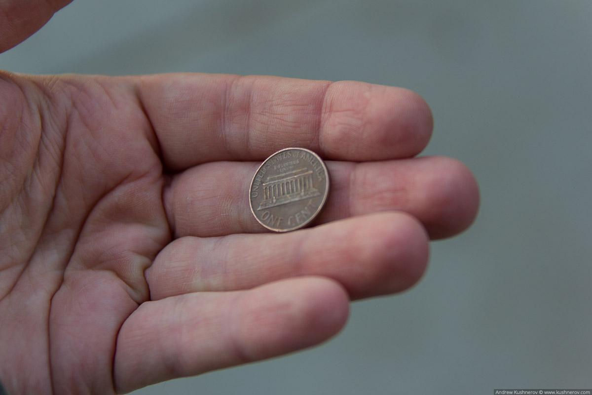 Вашингтон, округ Колумбия. Мемориал Линкольна на одном центе