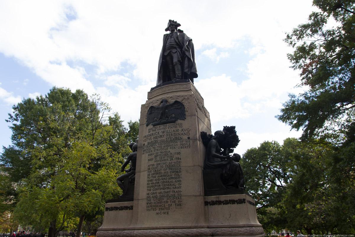 Вашингтон, округ Колумбия. Памятник Генерал-Майору Фридрих Вильгельм фон Штойбену