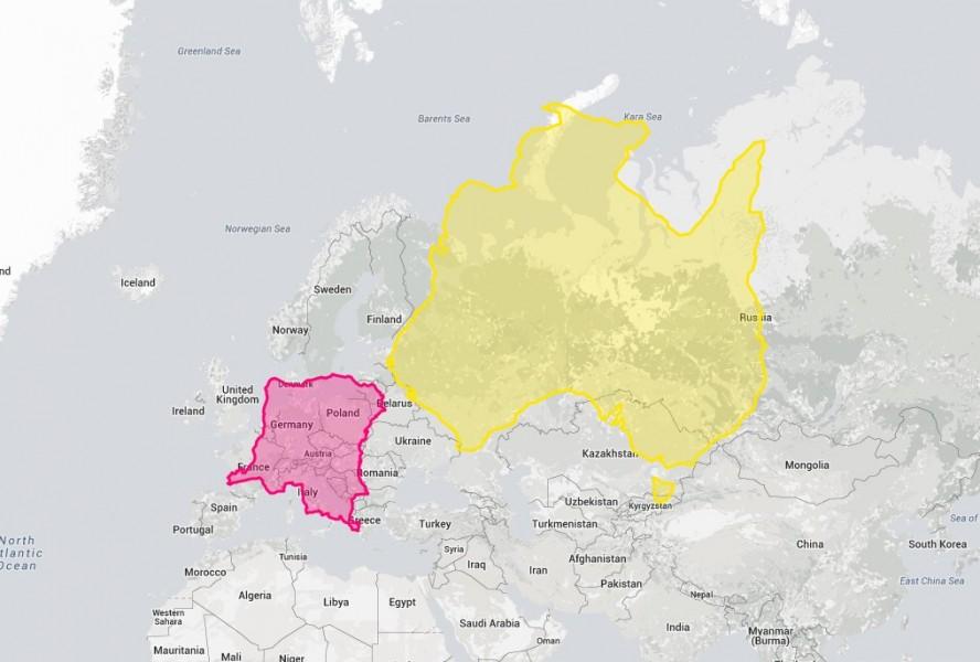 Австралия и Д.Р. Конго по сравнению с Европой